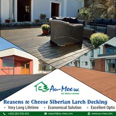 Au-Mex offers Siberian Larch Decking including European Wood Deck at the best price. Siberian Larch Wood Decking is durable & naturally water and fungus resistant. Decking, Wood, Outdoor Decor, Products, Woodwind Instrument, Timber Wood, Trees, Gadget