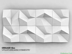 ORIGAMI tiles, V-pleats, breaking symmetry
