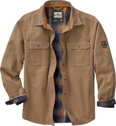 Legendary Whitetails Mens Journeyman Shirt Jacket Barley Medium Flannel  lined Rugged wax cotton look Features antique brass Legendary® snaps  Signature Buck ... 3424601c9d51