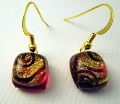 Red and swirl fused glass holiday earrings by LikeYourJunk on Etsy, $10.00