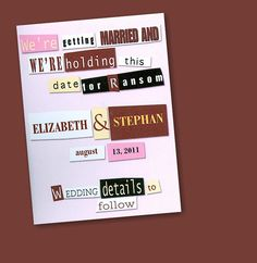 Ransom Note Save the Date Card