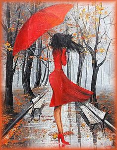 Painting by Eka Peradze * Umbrella Painting, Umbrella Art, Rain Art, Easy Paintings, Oil Paintings, Art And Illustration, Female Art, Art Pictures, Watercolor Paintings