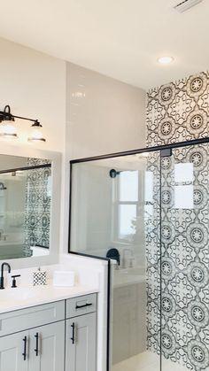 Tile bathrooms 489977634465055320 - Modern Farmhouse Bathroom Design with Vintage Tiles Source by Guest Bathrooms, Bathroom Renos, Bathroom Renovations, Small Bathroom, Budget Bathroom, Remodel Bathroom, Ikea Bathroom, Grey Bathroom Cabinets, 1920s Bathroom