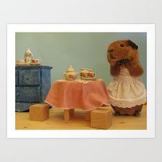 Guinea Pig Series Tidy Piggy - Nursery decor - Would You Like Some Tea Large Animals, Animals And Pets, Funny Animals, Cute Animals, Pig Wallpaper, Baby Guinea Pigs, Capybara, Cute Piggies, Strange Photos