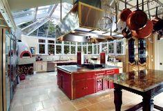 Beautiful red centerpiece kitchen!