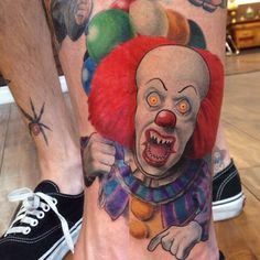 Pennywise the clown... Tattoo done all with @eternalink @redemptiontattoocare @stencilstuff