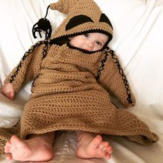 A simple crochet pattern that produces the cutest monster you ever did see! This pattern has been inspired by the Oogie Boogie monster from the movie Nightmare Before Christmas. Pattern is written for an infants 0-3 and 6-12 months of age. It is the perfect costume as Halloween can be a chilly holiday, and this costume will keep your babe nice and warm