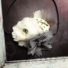 Avery--Ivory and grey dot shabby headband with feathers, baby girl headband, grey feathers, hair bow, infant headband, photo prop
