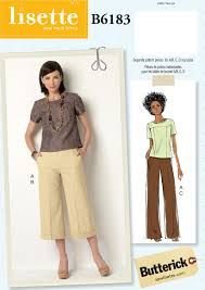 Lisette patterns for Butterick - - loving those pants as trousers. I'm a sucker for wide-leg trousers with a fat hem or a fat cuff. Beginner Sewing Patterns, Sewing Projects For Beginners, Sewing Tips, Sewing Ideas, Knitting Projects, Sewing Pants, Sewing Clothes, Doll Clothes, Pants Pattern