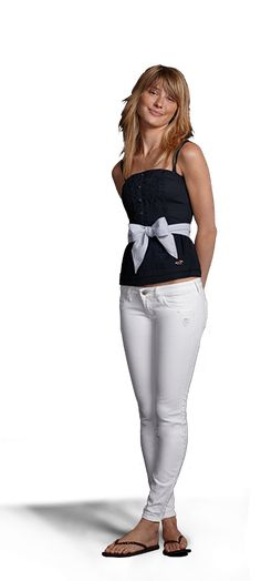 Hollister lace up top and white jeggings