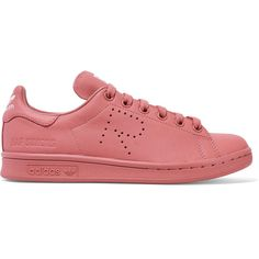 Adidas Originals + Raf Simons Stan Smith perforated leather sneakers ($400) ❤ liked on Polyvore featuring shoes, sneakers, pink, leather trainers, adidas originals sneakers, perforated sneakers, antique shoes and rose pink shoes