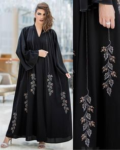 with I cannot belive ? She looks like Burqa Designs, Abaya Designs, Abaya Fashion, Muslim Fashion, Fashion Dresses, Embroidery Fashion, Embroidery Dress, Modern Abaya, Black Abaya