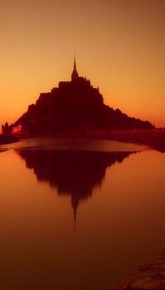 Sunset in Mont Saint-Michel, Normandy, France
