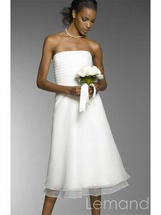 simple strapless A line organza wedding dress beach style. $165.00, via Etsy.