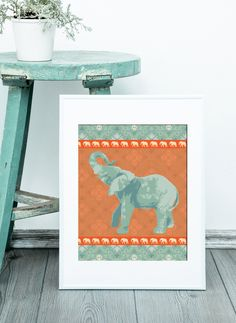 Boho Elephant Print. Instant Download, Digital Art Print, Great Last Minute Gift! by SimonandKabuki
