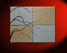 Painting on Canvas Gold and Silver Artwork Cherry Blossoms Wall Art Multiple Canvas Painting Ready to Hang 40x32
