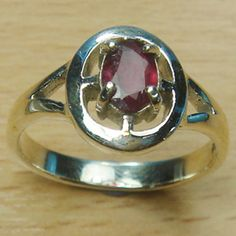 Oval Stone Genuine Ruby 925 Sterling Silver Solitaire Ring