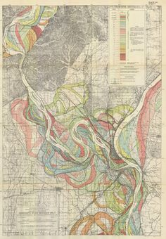 Mississippi River Meander Belt. These were created by the Army Corp of Engineers in 1944, and depict the meanderings of the Mississippi River from Southern Illinois to Southern Louisiana.