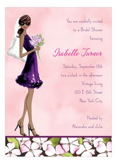 Floral Bride Multicultural Invitation