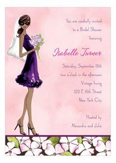 Floral Bride Multicultural Invitation