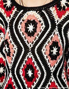 Outstanding Crochet: Patchwork Crochet Dress from Asos. Pull Crochet, Mode Crochet, Crochet Fall, Crochet For Kids, Knit Crochet, Crochet Motifs, Tunisian Crochet, Crochet Stitches, Crochet Patterns