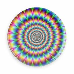 Crazy Rainbow Zoom - Funny Buttons - Custom Buttons - Promotional Badges - Trippy Illusions - Wacky Buttons