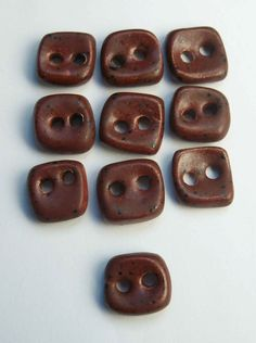Very Small Chocolate Brown Ceramic buttons by buttonalia on Etsy, $20.00