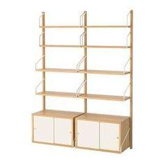 "SVALNÄS Wall-mounted storage combination, bamboo, white - 51 1/8x13 3/4x69 1/4 "" - IKEA"