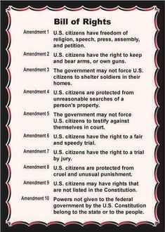 This is a shorter and much simpler version of the bill of rights. The bill gives the good people of America their individual freedoms. The Bill of rights is apart of the US constitution. Us History, History Facts, American History, History Timeline, British History, Ancient History, Bill Of Rights Amendments, Amendment 1, Teaching Government