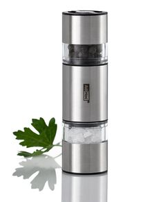 AdHoc MP12 Doppelmühle DUOMILL MINI,  für Pfeffer und Salz, Ceramic Mahlwerke, Edelstahl/Acryl. D: 3,2 cm, H: 11 cm