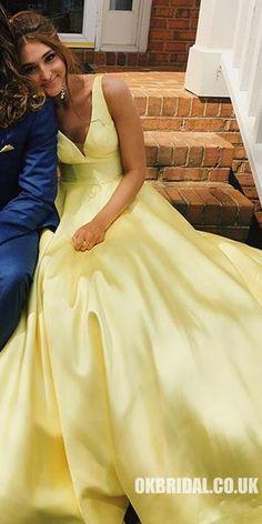 Yellow Satin V-neck V-back Sleeveless Elegant Prom Simple Prom Dress, Elegant Prom Dresses, Evening Dresses, Formal Dresses, Dress Long, Fancy Dress, Mellow Yellow, Ladies Dress Design, Dress Backs