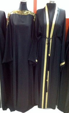 Beautiful black and gold abayas!made to measure and can be shipped worldwide.