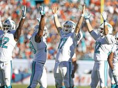 Miami Dolphins quarterback Ryan Tannehill (17) and teammates celebrate  after Jarvis Landry s catch is 4ebb642ce5ed1