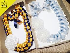 Blue, gold and white braided leis used for graduations in the Philippines. We create handcrafted leis for all sorts of occasion. Leis, Satin Ribbon Flowers, Hacks Diy, Special Guest, Diy Fashion, Graduation, Braids, Arts And Crafts, Birthday Cake