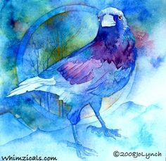 "This Corvidae looks like the Epitome of Summer Skies!! ""Raven Bleu"" by Jo Lynch"