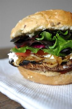Portobello Mushroom & Caramelized Onion Burger (omit goat cheese or sub your fave vegan cheese)