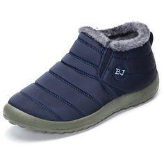 Men Stripe Warm Letter Soft Slip On Fur Lining Ankle Boots