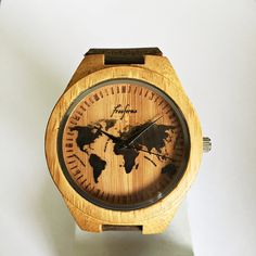 Wooden Watch by Freeforme This wooden watch features a World Map design with engraved ticks. You can choose from 3 different band colors black, khaki and taupe brown The wooden back can be personalized with custom texts with your choice of font (please make a note upon checkout ) Example : I love you Daddy Font - Arial I also accept custom design orders . Please send me a message through Etsy *Images are owned by Freeforme Ships Worldwide Type: Quartz Wrist Size: Adjustable from 17.5 cm to…
