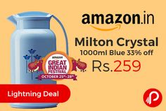 Amazon #LightningDeal is offering 33% off on Milton Crystal 1000ml Blue at Rs.259. Glass refill inside, Leak resistant, Easy pouring lid, Color: Blue, Material: Plastic, Package Contents: 1-Piece Bottle (1 Litre). Milton Flasks Are Flasks With A Glass Refill On The Inside. These Flasks Are Designed To Keep Your Beverages Hot Or Cold For Long Hours.   http://www.paisebachaoindia.com/milton-crystal-1000ml-blue-33-off-at-rs-259-amazon/