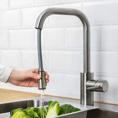 ÄLMAREN Kitchen faucet with pull-out spout, stainless steel color - IKEA Ikea Kitchen Faucet, Kitchen Mixer Taps, Kitchen Tap With Hose, Kitchen Reno, Stainless Steel Kitchen Faucet, Modern Kitchen Sinks, Kitchen Remodel, Sink Countertop, Corian Countertops