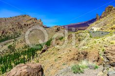 Qdiz Stock Images Mountains on Tenerife Island in Spain,  #blue #Canary #day #green #island #landmark #landscape #mountain #nature #park #rock #sky #Spain #spring #summer #Tenerife #Travel #view
