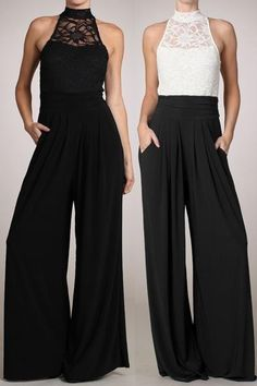 WOMEN SLEEVELESS LACE TURTLE NECK JUMPSUIT Wide Leg Pants Long Evening S M L www.abutterflyboutique.net
