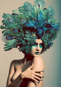 Photographer: Samuel Hernandez - S. Photo Headpiece: Miss G Designs Makeup: Kira Von Sutra Model: Rivi Madison. This is soooo amazing! Mode Bizarre, Arte Fashion, Indian Fashion, Photo Portrait, Vintage Mode, Headgear, Belle Photo, Costume Design, Masquerade