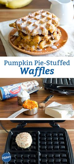 You CAN eat pie for breakfast when it's stuffed inside a cinnamon roll and waffled until golden. Fall in love with this pumpkin perfection!