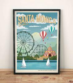 Cartel Vintage Santa Monica Viaje USA Poster por GraphicHomeDesign