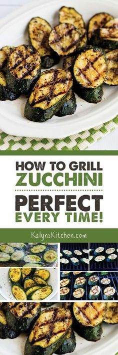 How to Grill Zucchini so it's Perfect Every Time! This hugely popular recipe for grilled zucchini is one of The Top Ten Most Popular Low-Carb Zucchini Recipes on Kalyn's Kitchen and it's something I make all summer long. And this delicious grilled zucch Low Carb Zucchini Recipes, Vegetable Recipes, Vegetarian Recipes, Healthy Recipes, Vegetarian Grilling, Free Recipes, Vegetarian Tapas, Healthy Grilling, Veggie Food