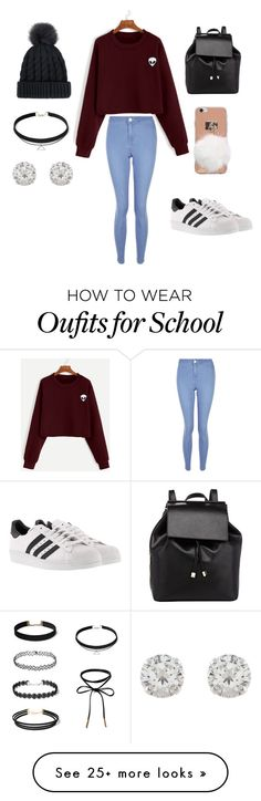 """Back to school look:3"" by makeupbylea on Polyvore featuring New Look, adidas, Barneys New York and Accessorize"