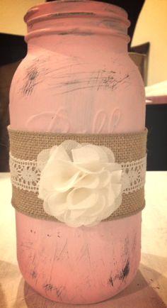 Rustic Half Gallon Mason Jar Wedding Centerpiece on Etsy, $23.00