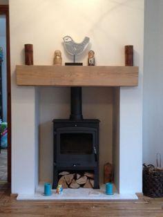 new oak railway sleeper fireplace