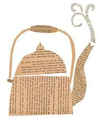Whimsical paper collage of a tea kettle Newspaper Collage, Newspaper Crafts, Collage Art, Collages, Newspaper Paper, Book Page Crafts, Book Page Art, Book Art, Tee Kunst